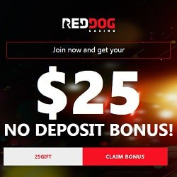 Red Dog Casino $25 free no deposit bonus (USA & Bitcoin