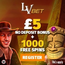 LV Bet Casino €5 no deposit + 325% up to €1000 bonus + 1000 free spins