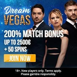 Dream Vegas Casino 120 free spins + 300% bonus + €7000 gratis