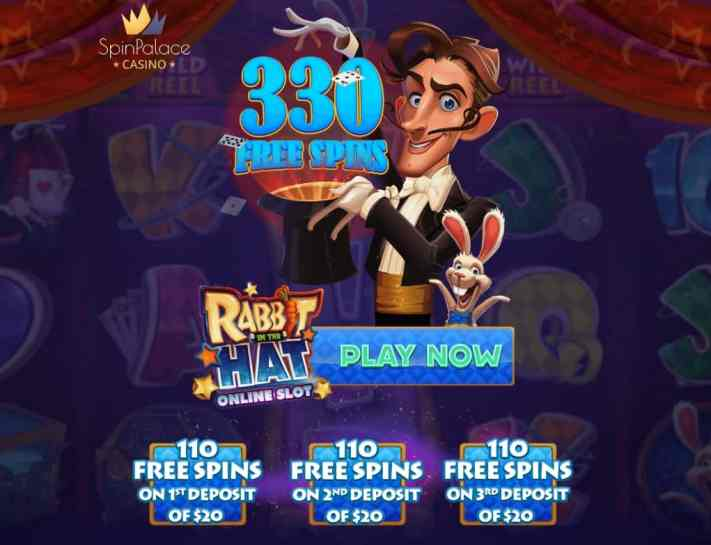 Spin Palace Casino 330 free spins on Rabbit in the Hat