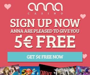 Anna Casino - 90 free spins NDB and 100% up to €200 bonus