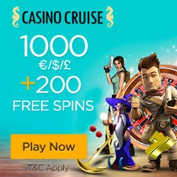 CasinoCruise £€$ 1000 bonus money and 200 free spins