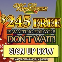 Vegas Country Casino | 50 free spins and 150% up to £€$ 245 free bonus