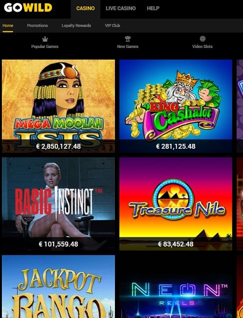 GoWild Casino Online & Mobile - free spins bonus and free play games