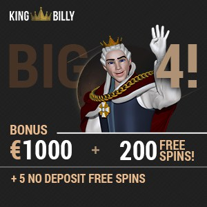 King Billy Casino 200 free spins & €1000 free play bonus - BTC accepted!