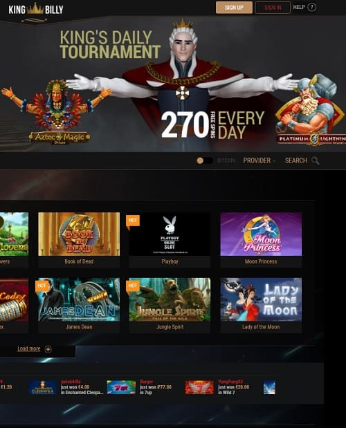 King Billy Caisno free spins