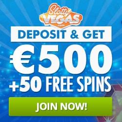 Slotty Vegas Casino™ 50 extra free spins and €500 free play bonus