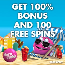 Vera John Casino 200% bonus up to €100 free cash