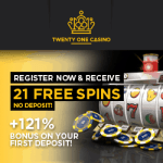 21 Casino – 21 free spins NDB and 121% up to €999,999,999… bonus
