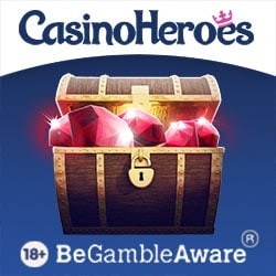 Casino Heroes €5 NDB plus 900 free spins or €1300 and 200 free spins