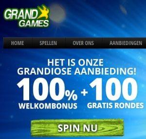 GrandGames.be Casino - 100 gratis spins and 100% free bonus