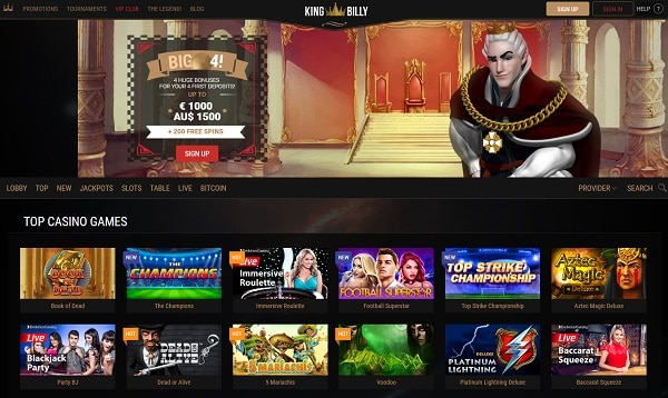 King Billy Casino free spins bonus
