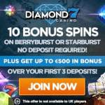 Diamond 7 Casino 60 free spins + 200% up to €500 gratis bonus