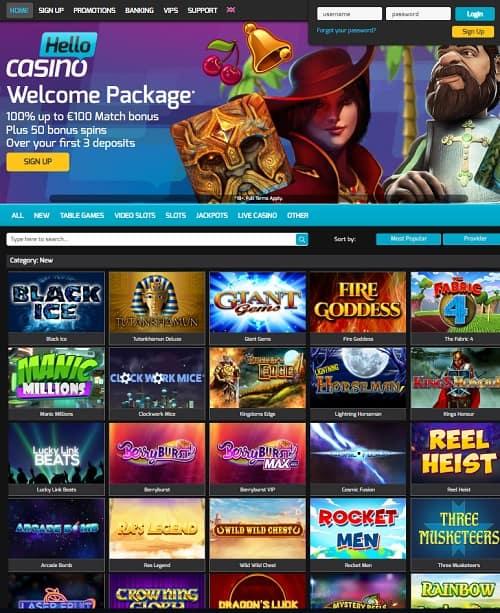 Hello Casino Free Spins Bonus