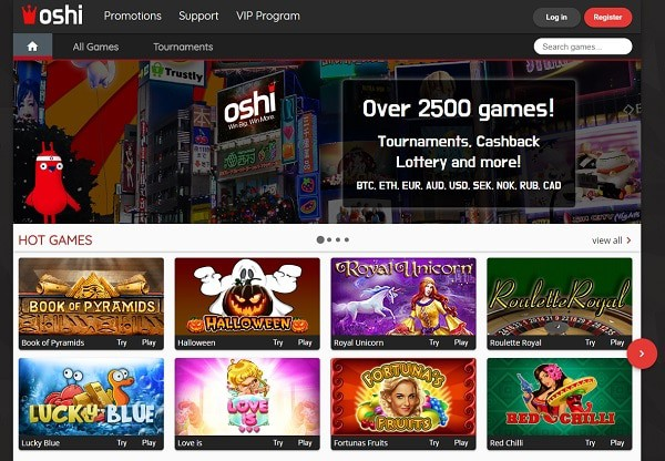 Oshi Casino mobile and online