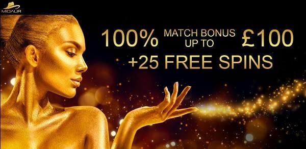 Midaur free spins bonus