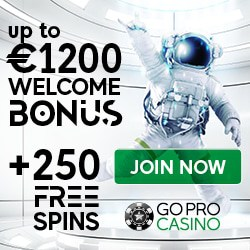 Join GoPro Casino and get 1200€ gratis and 250 free spins!