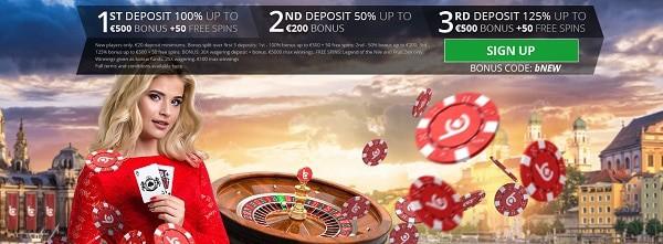 bCasino 100% bonus and 50 free spins