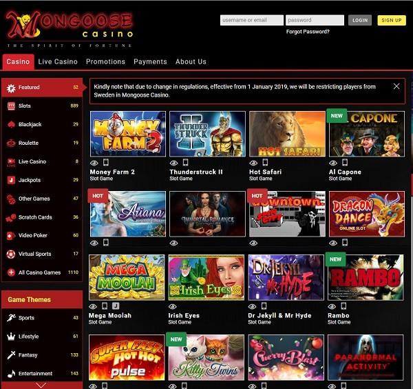 Mongoose Casino Free Play Games
