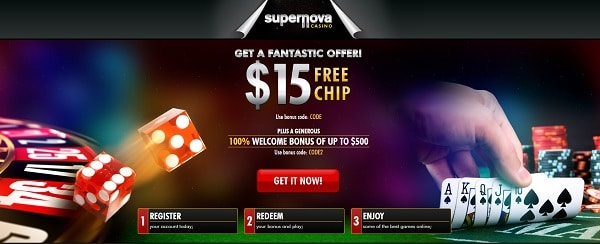 $15 free chip bonus for new players