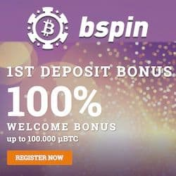 Bspin Casino 100% up to 1.000.000 μBTC with 20 free spins