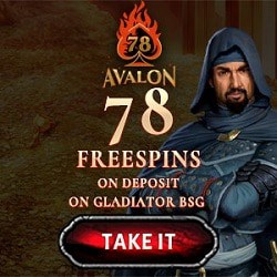 78 free spins on AVALON and 100% welcome bonus