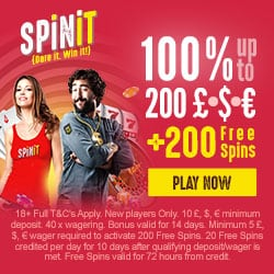 Spinit Casino | €1,000 free + 200 gratis spins + no deposit bonus
