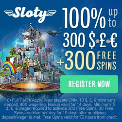 SLOTY.COM - 100% bonus up to £300   300 free spins on 1st deposit!