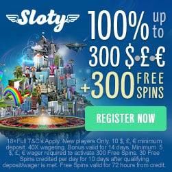 SLOTY.COM - 100% bonus up to £300   300 free spins on 1st deposit!