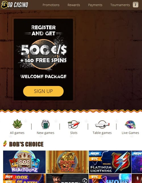 BobCasino.com free bonus for new players