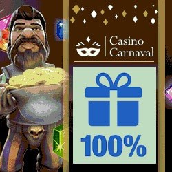 CasinoCarnaval.com 100% bonus on slot machines & virtual games