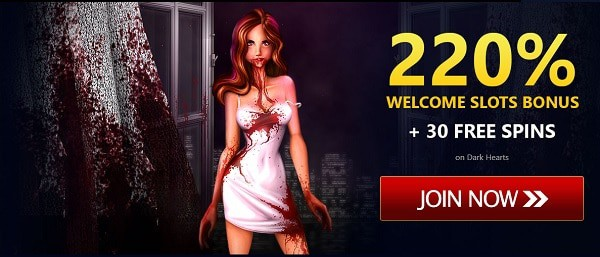 220% bonus and 30 free spins