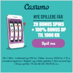 Casumo.dk Dansk Casino 20 gratis spins + 1.000 kr bonus