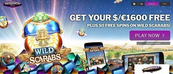 Jackpot City Casino 50 free spins bonus on Wild Scarabs slot