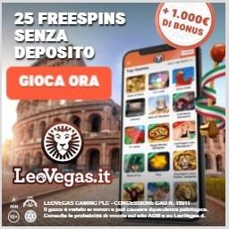 LeoVegas.it Casino Italiano 25 free spins bonus senza deposito