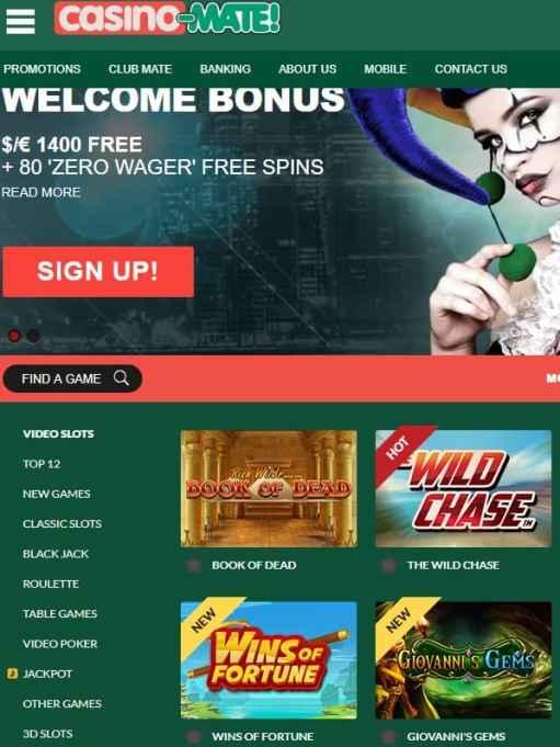 Casino Mate Australia - free spins bonus