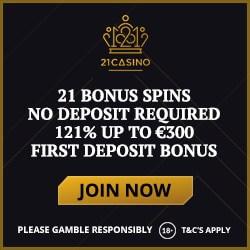21Casino.com 21 free spins on Book of Dead (no deposit bonus)