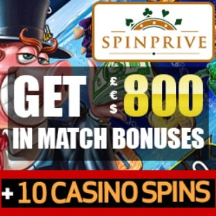 Spinprive Casino £€$ 800 bonus and 10 free spins on Starburst