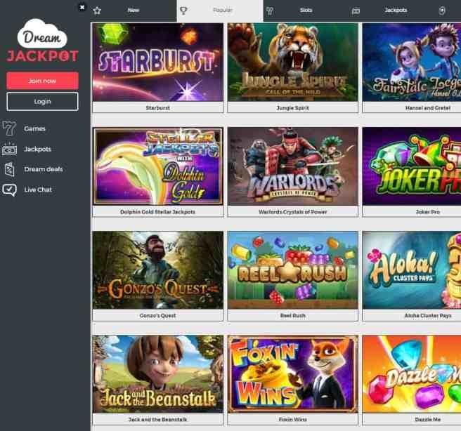 Dream Jackpot Casino free spins bonus