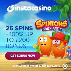 Insta Casino 25 free spins + 100% bonus + 500 gratis spins