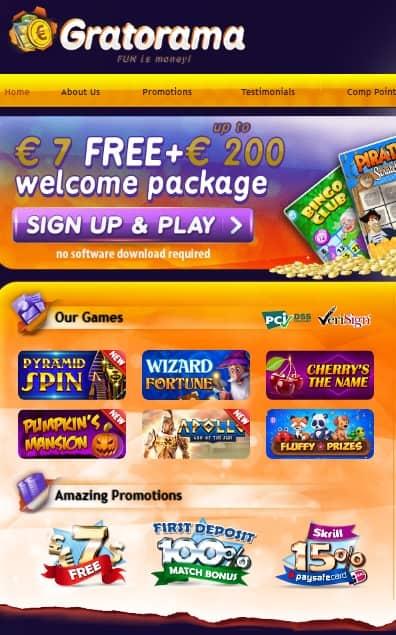 Gratorama $7 free bonus - no deposit required