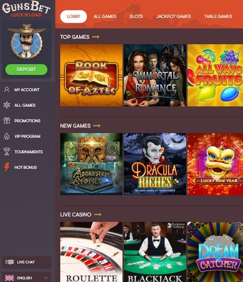 GunsBet Casino free spins bonus