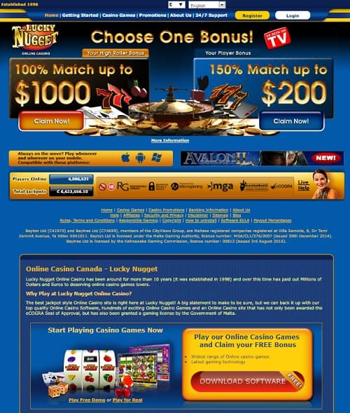 Lucky Nugget Casino Review: free spins and bonus money