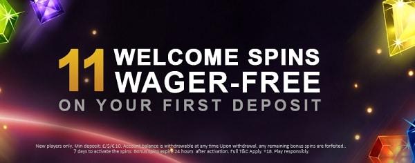 11 free spins on Starburst