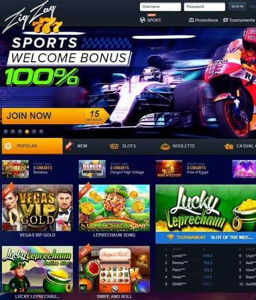 Zig Zag 777 Casino free spins bonus