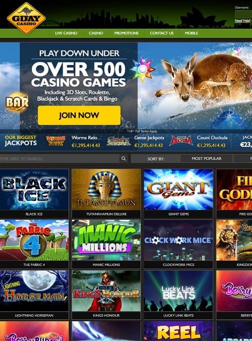 Gday Casino free bonuses