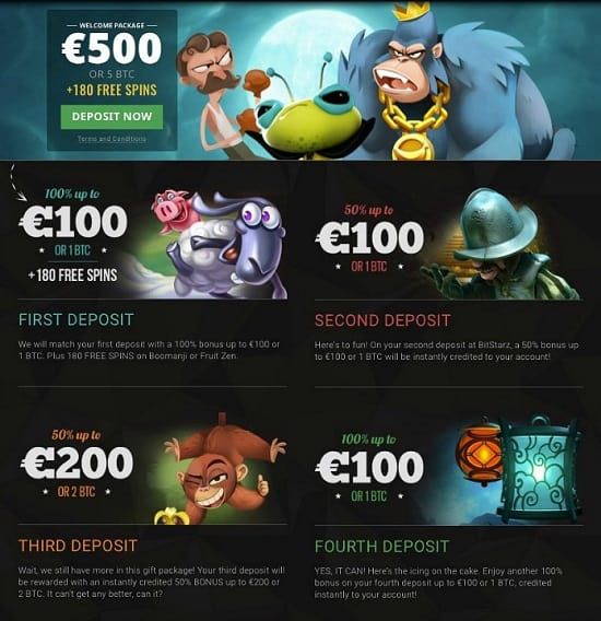 Bitstarz.com welcome bonuses