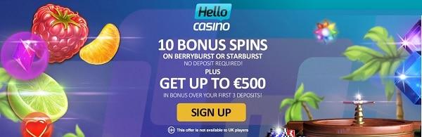 Hello Casino free spins bonus no deposit required