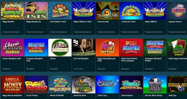 Dream Bingo Casino slots, table games, video poker, live dealer