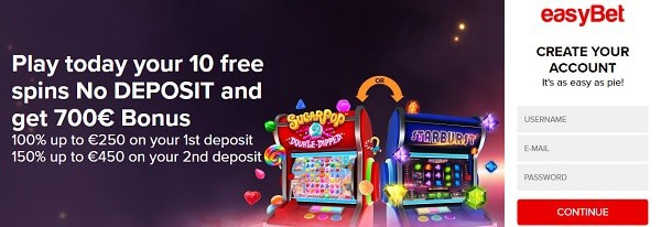 Easybet Casino welcome bonus and free spins